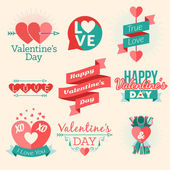 Set of vector St. Valentine's day illustration and typography elements — Stock Vector