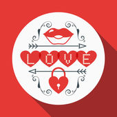 Vector St. Valentine's day greeting card in flat style. Typography elements with lips and heart shaped lock — Stok Vektör