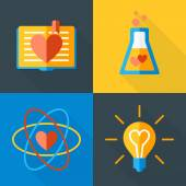Vector St. Valentine's day greeting card in flat style. Set of love science icons. Book, flask, atom and bulb — Stock Vector
