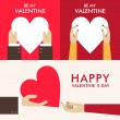 Set of Vector St. Valentine's day greeting cards in flat style — Stock Vector #62099357