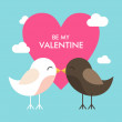 Vector St. Valentine's day greeting card in flat style. Two kissing birds and pink heart — Vecteur #62099367