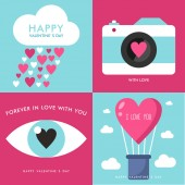 Set of Vector St. Valentine's day greeting cards in flat style — Stock Vector