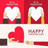 Set of Vector St. Valentine's day greeting cards in flat style — Cтоковый вектор