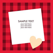 White paper sheet with text on the red checkered background — Stock Vector