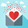 Vector St. Valentine's day greeting card in flat style. A heart symbol inside envelope — Stock Vector #62285553
