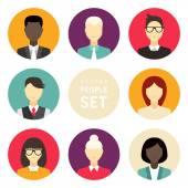 Sada plochých ikon vektor. Různí lidé charakter, muž, Žena, podnikatel — Stock vektor
