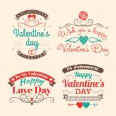Valentine's day set of label, badges, stamp and design elements. Red, aqua and brown colors — Stock Vector