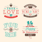 Valentine's day set of label, badges, stamp and design elements. Red, aqua and brown colors — Vetorial Stock