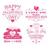 Valentine's day set of label, badges, stamp and design elements. Pink on white background — Vetorial Stock