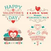 Valentine's day set of label, badges, stamp and design elements. Red, aqua and brown colors — Stockvektor