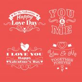 Valentine's day set of label, badges, stamp and design elements. White on red background — Vetorial Stock