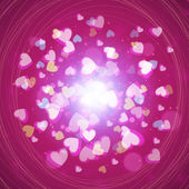 St. Valentine's Day abstract vector background with hearts and lights — Stockvector