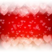 St. Valentine's Day abstract vector background with hearts and lights — Stock Vector