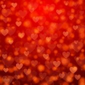 St. Valentine's Day abstract vector background with hearts and lights — Cтоковый вектор