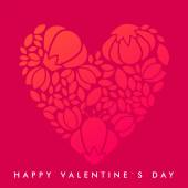 Vector St. Valentine's day greeting card in flat style. Floral heart on red background — Stock Vector