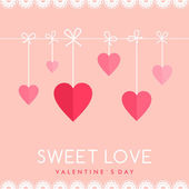Vector St. Valentine's day greeting card in flat style. Hearts hanging on a ropes — Stock Vector