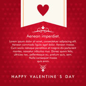 Vector St. Valentine's day greeting card in flat style. Text on red background with heart — Stok Vektör