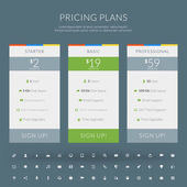Vector pricing table in flat design style for websites and applications — Stock Vector