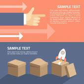 Set of flat vector illustration. Start up concept. Rocket in the box. Motivation concept. Hands with arrows — Vector de stock