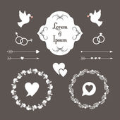 Wedding set of label, badges, stamp and design elements — Stock Vector