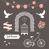 Vintage set of vector wedding illustrations and decorative elements — Stock Vector