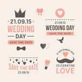 Wedding set of label, badges, stamp and design elements — Cтоковый вектор