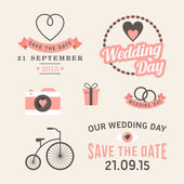 Wedding set of label, badges, stamp and design elements — Stockvektor