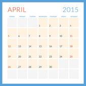 Calendar 2015 vector flat design template. April. Week starts Sunday — Stock Vector