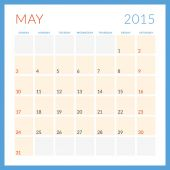 Calendar 2015 vector flat design template. May. Week starts Sunday — Stock vektor