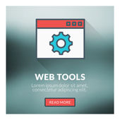 Flat design concept for web tools. Vector illustration with blurred background — Stock Vector