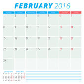 Calendar 2016 vector flat design template. February. Week starts Monday — Stock Vector