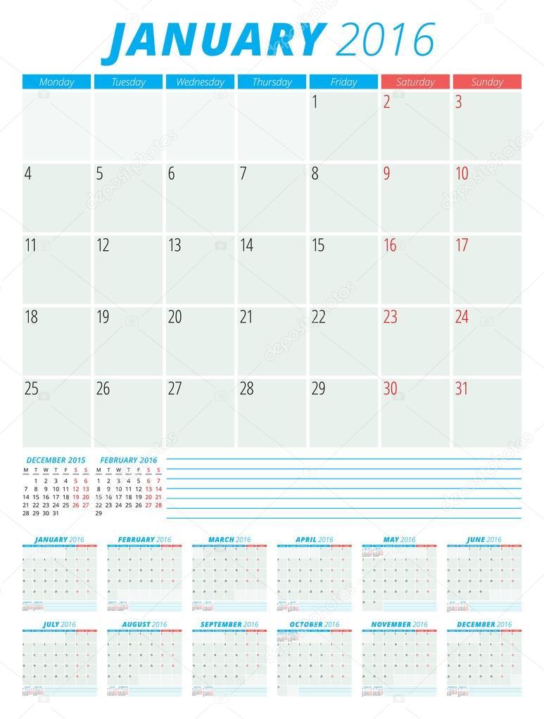 カレンダー 2016年ベクトル フラット デザイン テンプレートです。12 月のセット。月曜日の開始曜日 \u2013 ストックイラストレーション