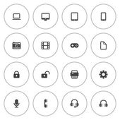 Flat icon set for web and mobile. Technology icons — Stock Vector