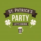 St. Patricks Day card design. Vintage holiday badge design — Stok Vektör
