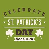 St. Patricks Day card design. Vintage holiday badge design — Stockvektor