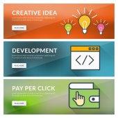 Flat design concept for creative idea, development, pay per click — Stock Vector