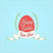 Happy Easter Day vintage holiday badge design. Vector design greetings card or poster with blurred green backdrop — Stock Vector