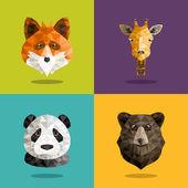 フラットなデザインのベクトル図を持つ動物の折り紙肖像画のセットです。フォックス、パンダ、クマ、キリン — ストックベクタ