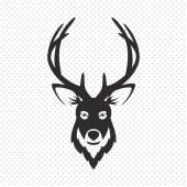 Simple Black Animal Portrait Vector Illustration. Deer — Stock Vector