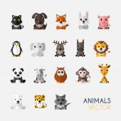 Set of Cute Animals With Flat Design. Vector Illustration — Stockvector