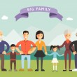 Big Happy Family. Parents with Children. Father, mother, children, grandpa, grandma — Stock Vector #69246481