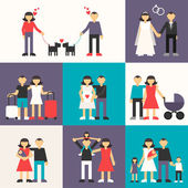 Set of Flat Design Vector Illustrations. Happy Family. Friendship, Wedding, Honeymoon, Pregnancy, Birth of a child — Vector de stock