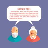 Grandfather and Grandmother with Speech Bubbles. Flat Design Vector illustration — Vecteur