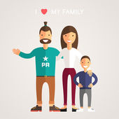 Happy Family Parents with Son. Father, mother, son. I Love My Family — Stockvector