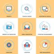Modern Vector Line Icons Set. Growth, Search Engine Optimization, Responsive Design, Strategic Management, Email Marketing — Stock Vector #69637599