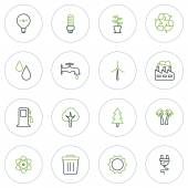 Set of Thin Line Ecology and Environment Icons. Vector Illustration — Stock Vector