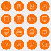 Set dunne lijn Multimedia en apparaten pictogrammen. Vectorillustratie — Stockvector