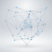 Wireframe Polygonal Element. Abstract 3D Object with Thin Lines — Wektor stockowy