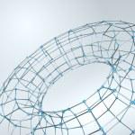 Wireframe polygonal element. 3D Torus with Diamonds — Stock Vector #71876429