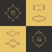 Vector Frame and Design Elements. Mono Line Geometric Design Template — Stock Vector